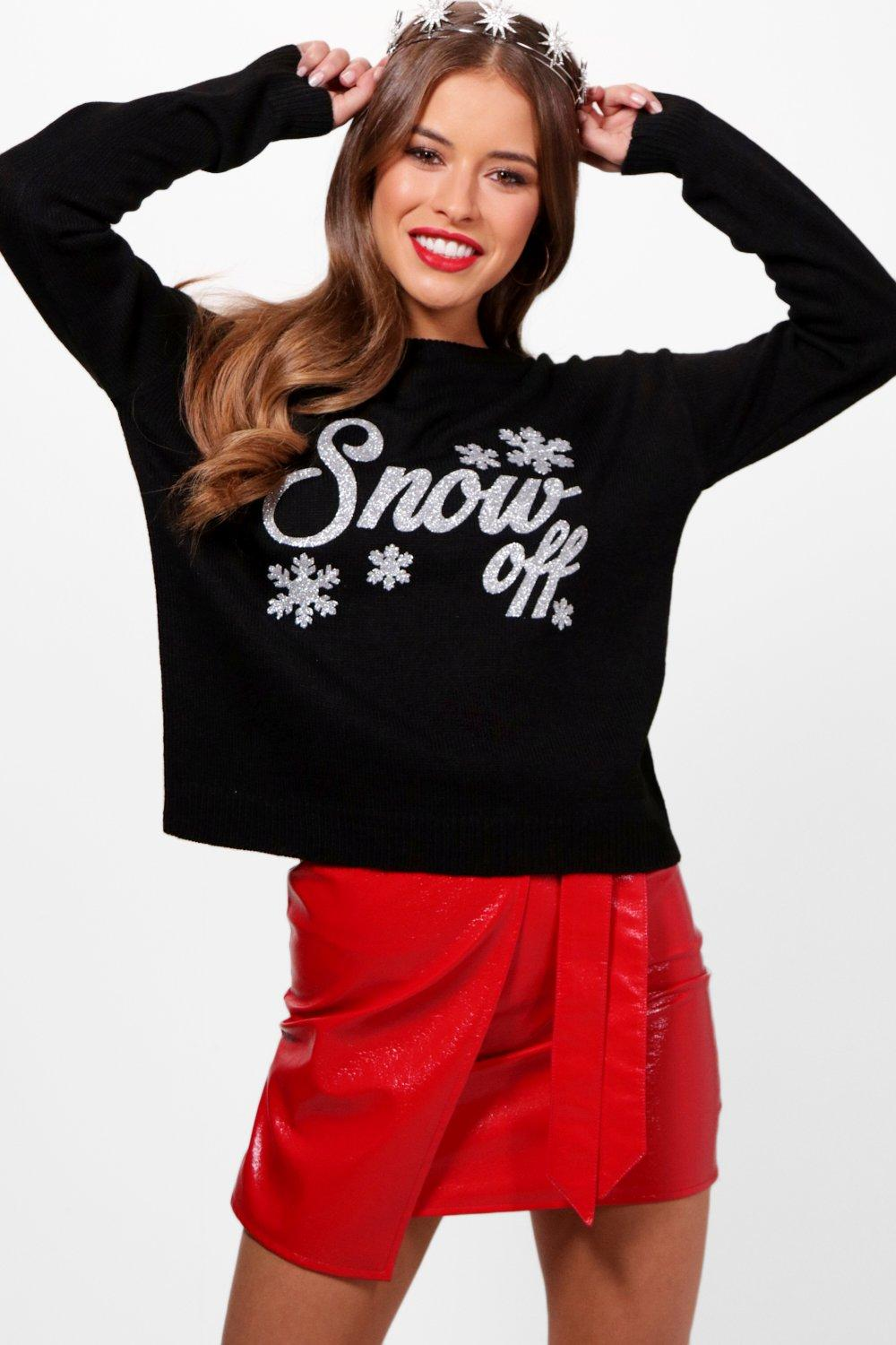 petite ellie snow off slogan christmas jumper | boohoo