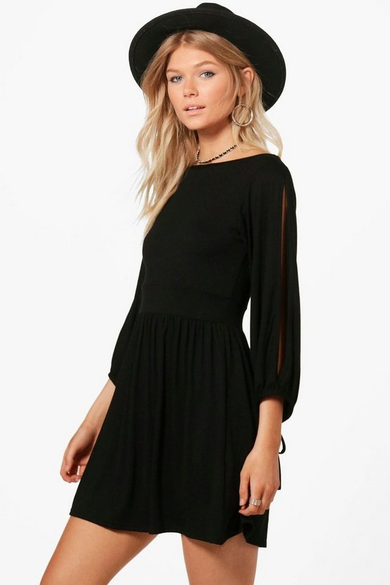 Petite Tie Sleeve Scoop Back Skater Dress