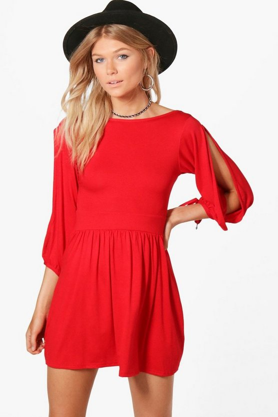 Petite Katie Tie Sleeve Scoop Back Skater Dress