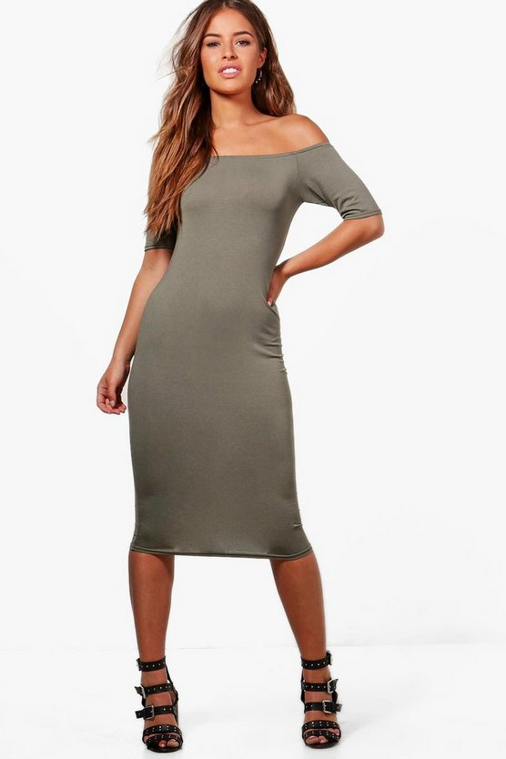 Petite Camilla Off The Shoulder Bodycon Dress