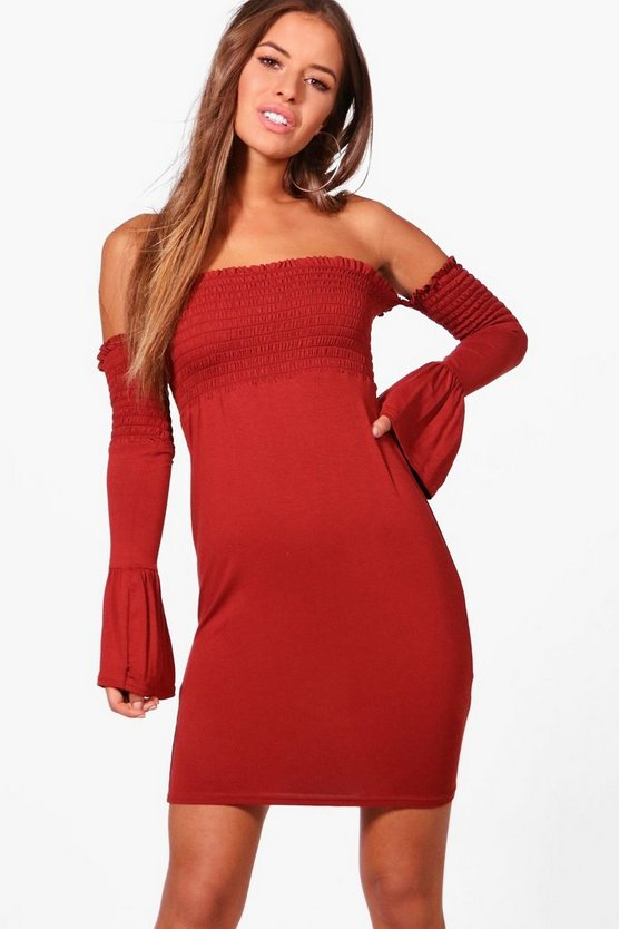 Petite Andrea Shirred Off The Shoulder Dress