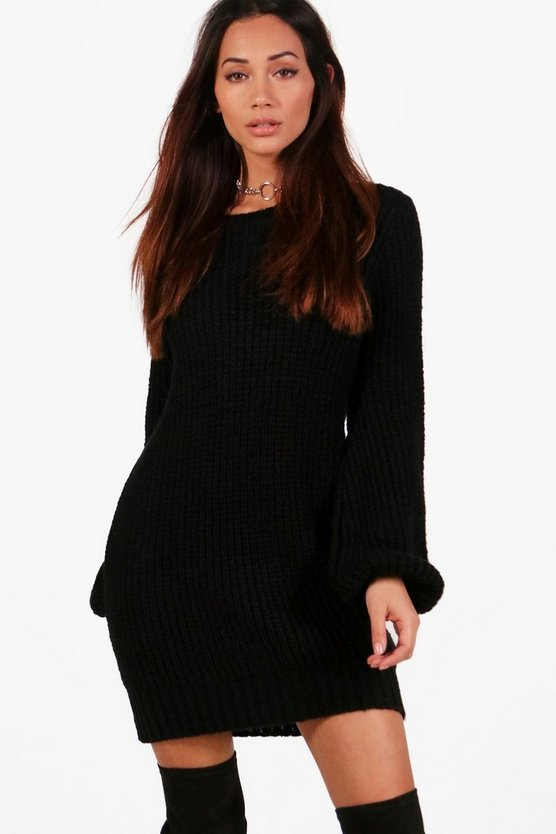 Petite Sally Balloon Sleeve Jumper Dress