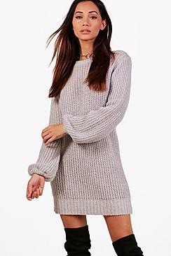 petite sally balloon sleeve jumper dress