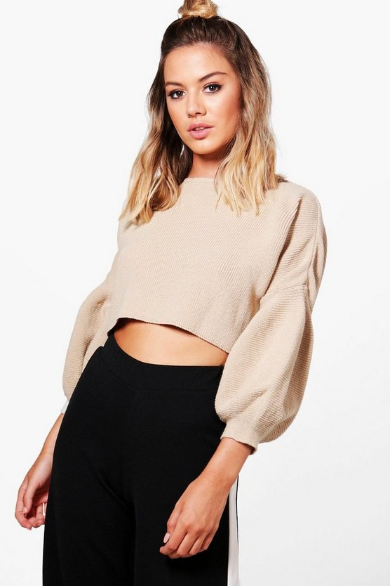 Petite Jessy Bell Sleeve Cropped Jumper
