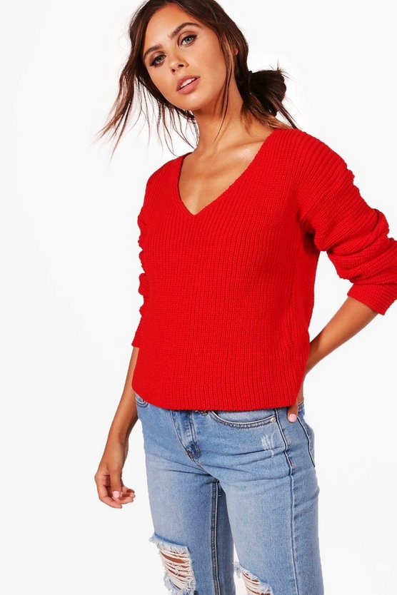 Petite Teri Ruched Sleeve V Neck Jumper