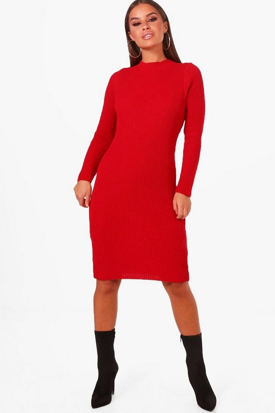 Petite Audrey Rib Knitted Midi Dress
