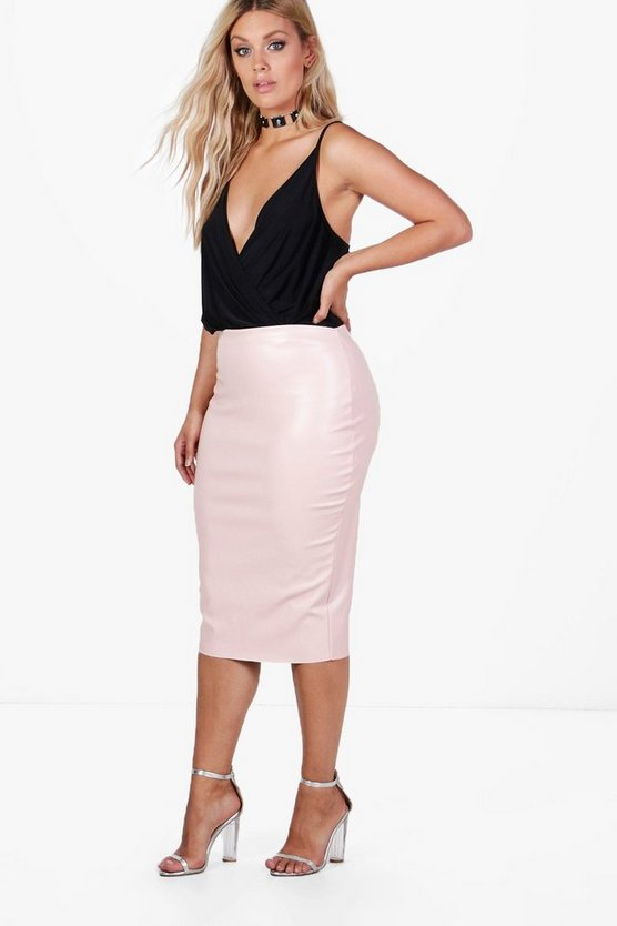 Plus India Fitted PU Midi Skirt