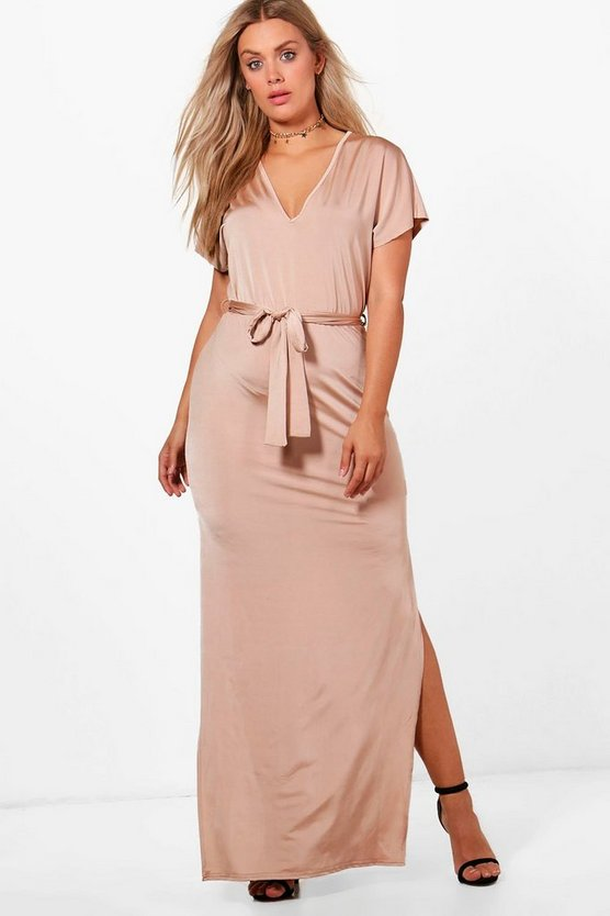 Plus Tora Slinky Kimono Sleeve Tie Maxi Dress
