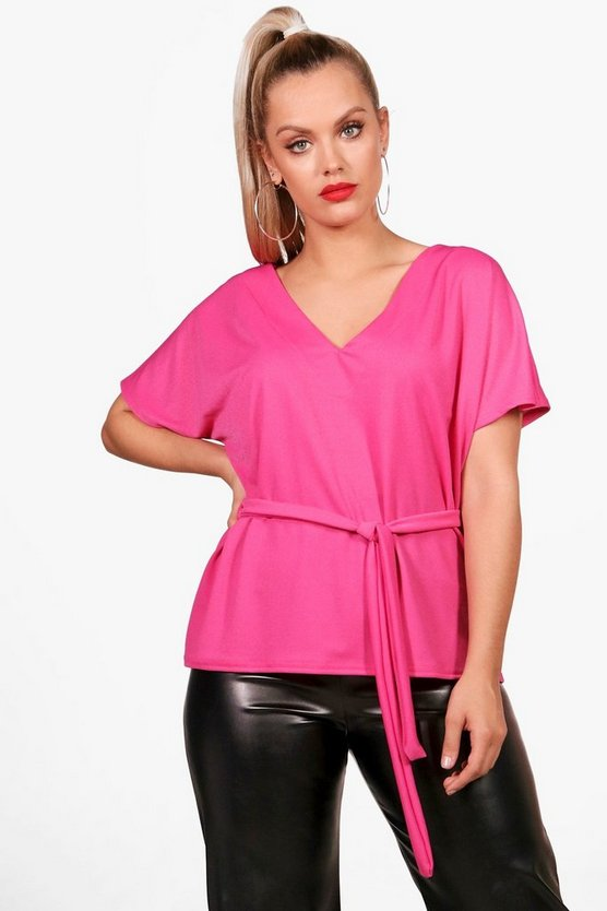 Plus Crepe Tie Waist Top
