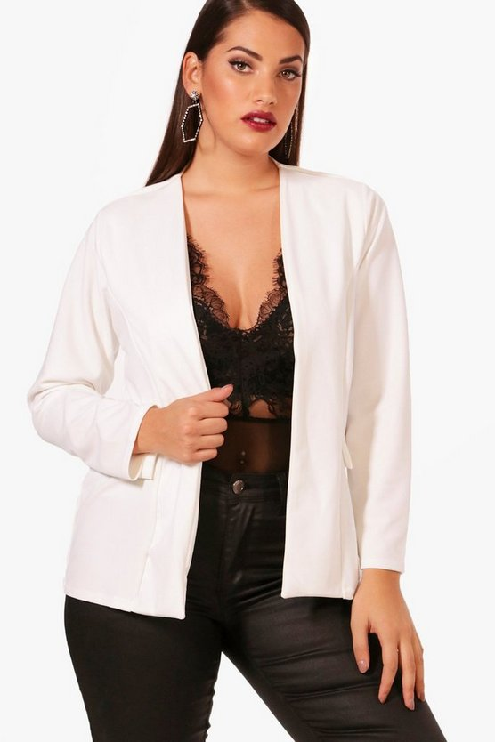 Plus Jennie Collarless Tailored Blazer
