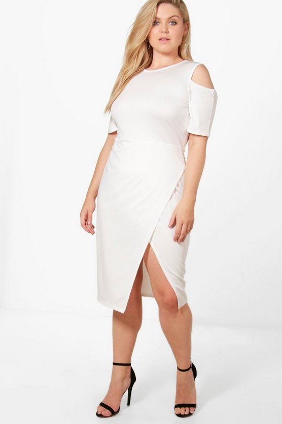Plus Iris Crepe Cold Shoulder Wrap Midi Dress