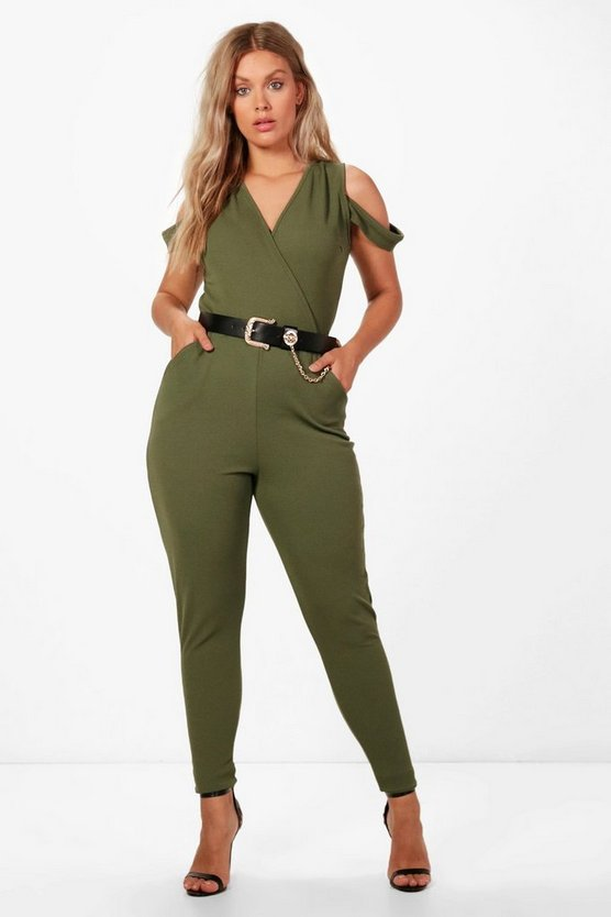 Plus Liv Crepe Cold Shoulder Plunge Jumpsuit