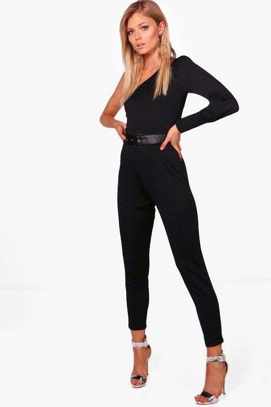Petite Imogen One Shoulder Crepe Jumpsuit