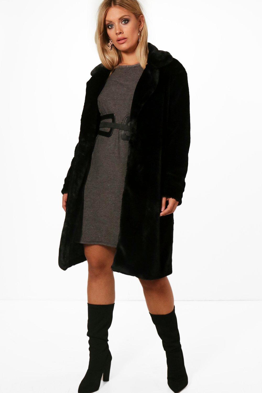 Indea Longline Fur Coat - black