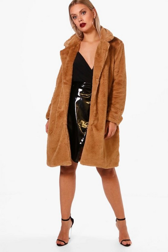 Plus Indea Longline Faux Fur Coat