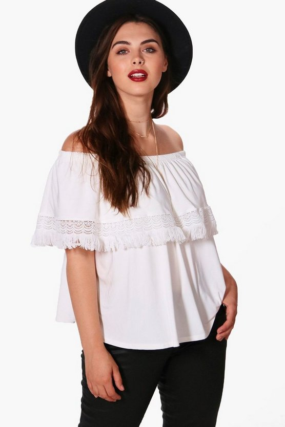 Plus Jinny Tassel Hem Off The Shoulder Top