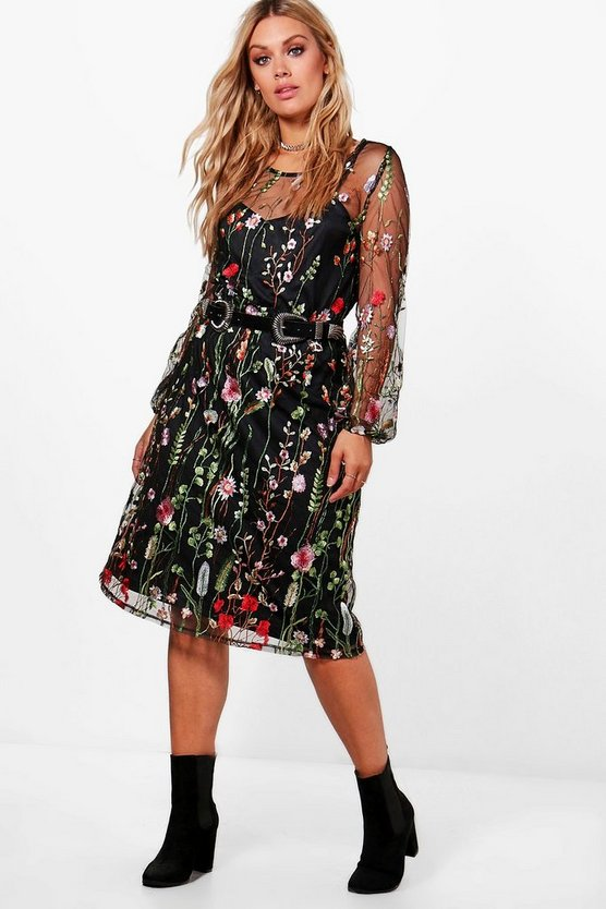 Plus Tilly Heavy Embroidered Midi Dress