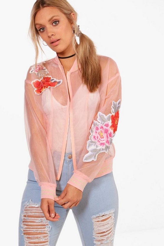 Plus Hana Embroidered Sheer Bomber