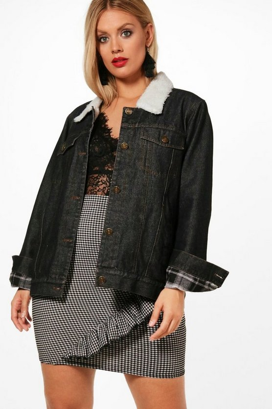 Plus Lola Borg Lined Denim Jacket