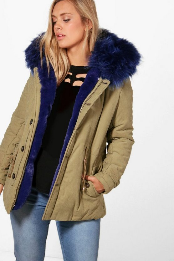 Plus Natasha Faux Fur Collar Parka