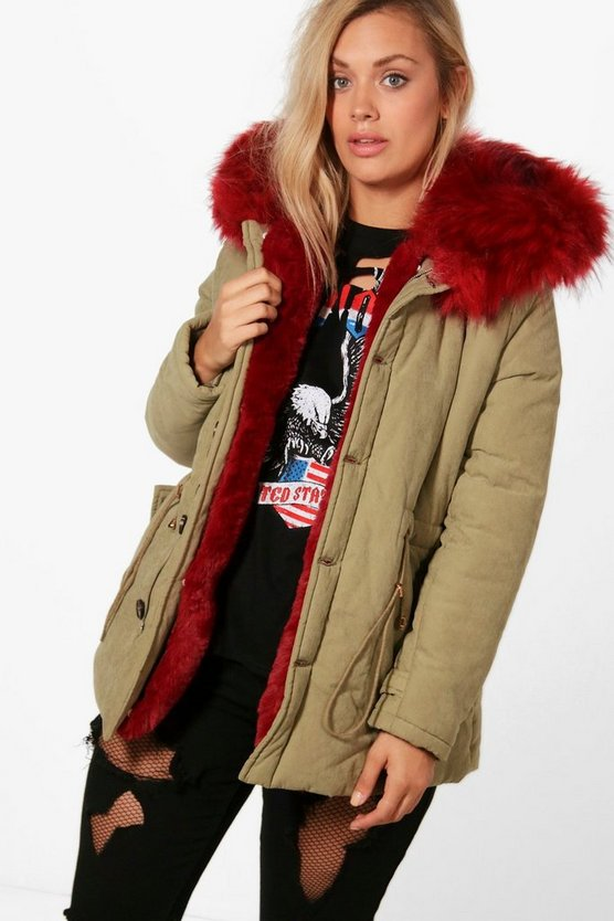 Plus Janey Faux Fur Collar Parka