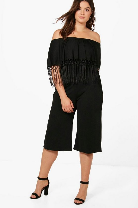 Plus Lilly Tassel Trim Culotte Jumpsuit