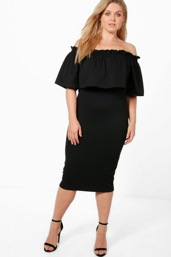 Plus Ruby Off Shoulder Scuba Midi Prom Dress