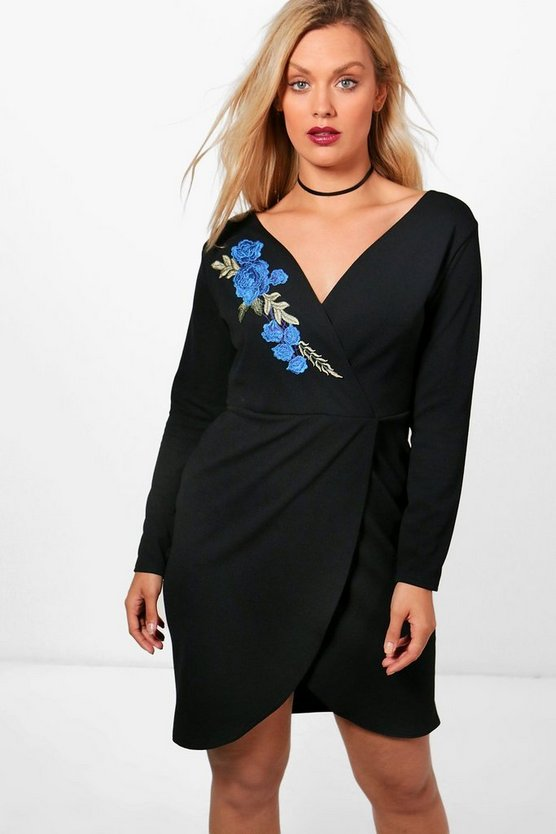 Plus Kelly Embroidered Wrap Dress