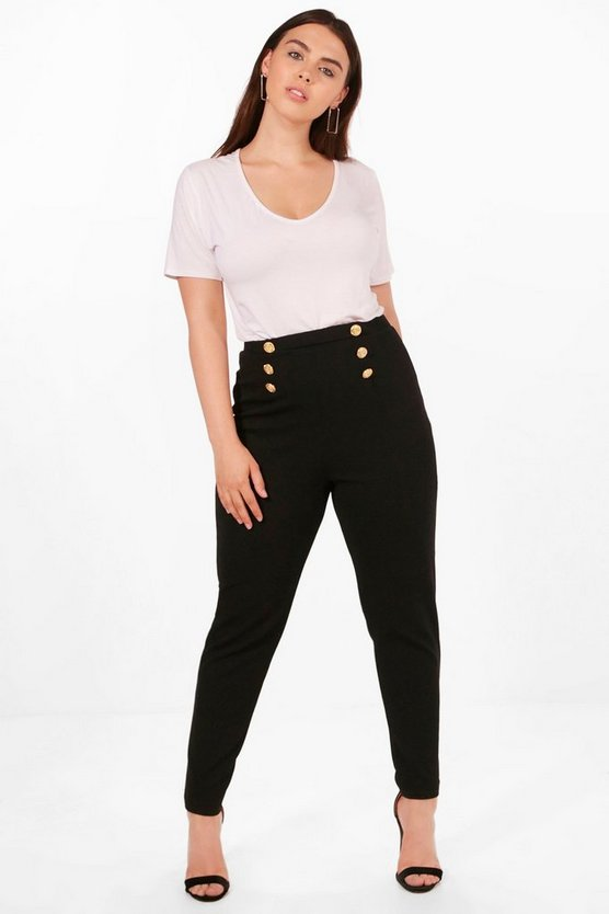 Plus Jemima Button Front Trousers