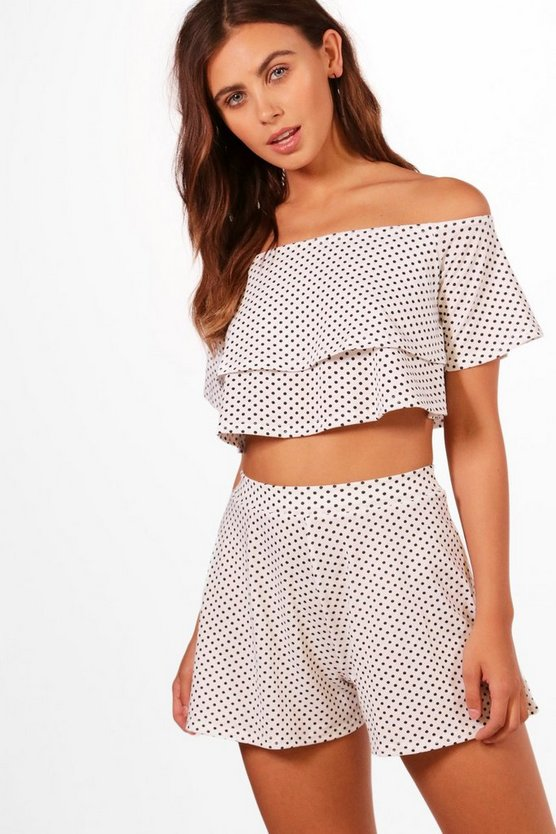 Petite Elle Polka Dot Bardot Crop + Short Co-Ord