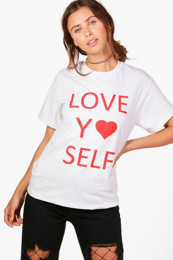 Petite Orla Love Yo Self Slogan Tee