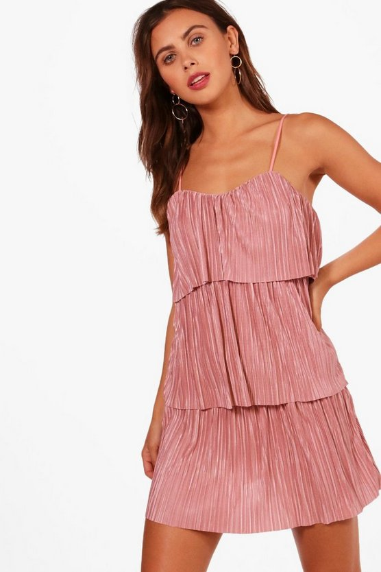 Petite Fiona Tiered Pleated Dress