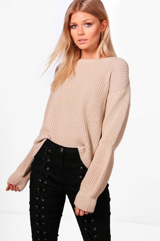 Petite Carla Balloon Sleeve Rib Knitted Jumper