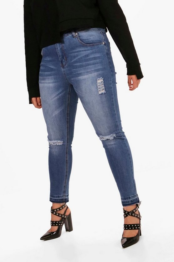 Plus Olivia Distressed Hem Skinny Jean