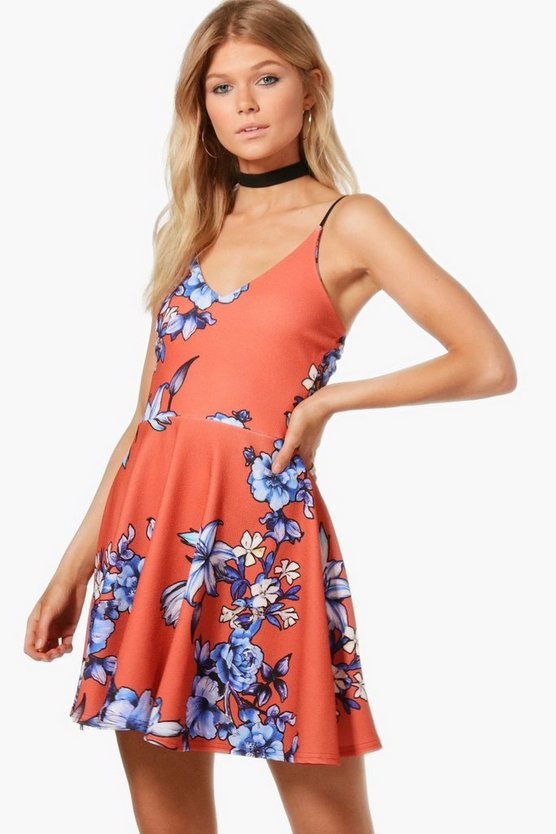 Petite Olivia Strappy Floral Skater Dress