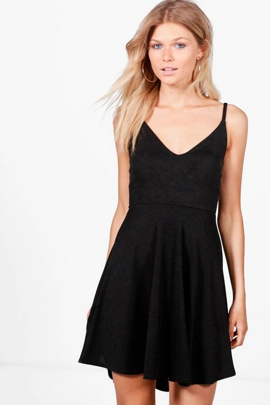 Petite Tilly Dip Hem Plunge Skater Dress