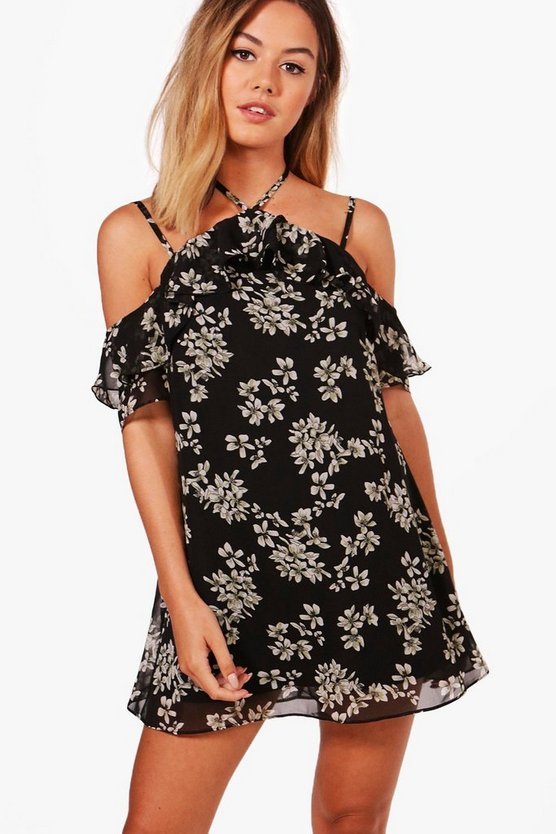 Petite Laura Floral Ruffle Shift Dress