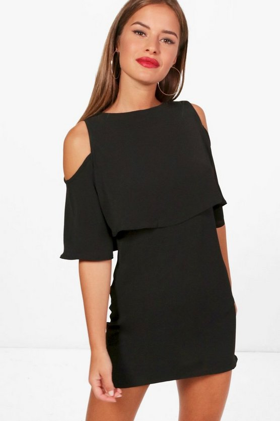 Petite Lindsey Cold Shoulder Layered Shift Dress