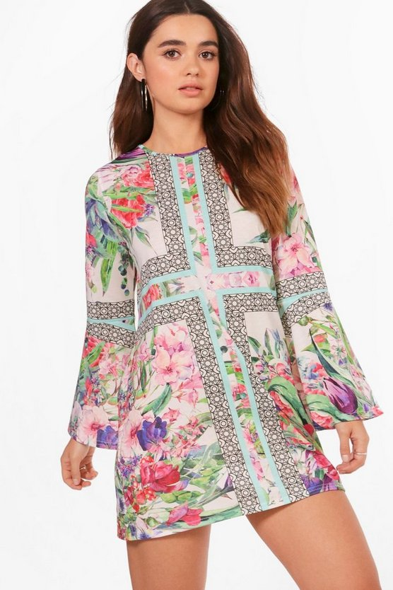 Petite Georgie Border Print Bell Sleeve Shift Dress