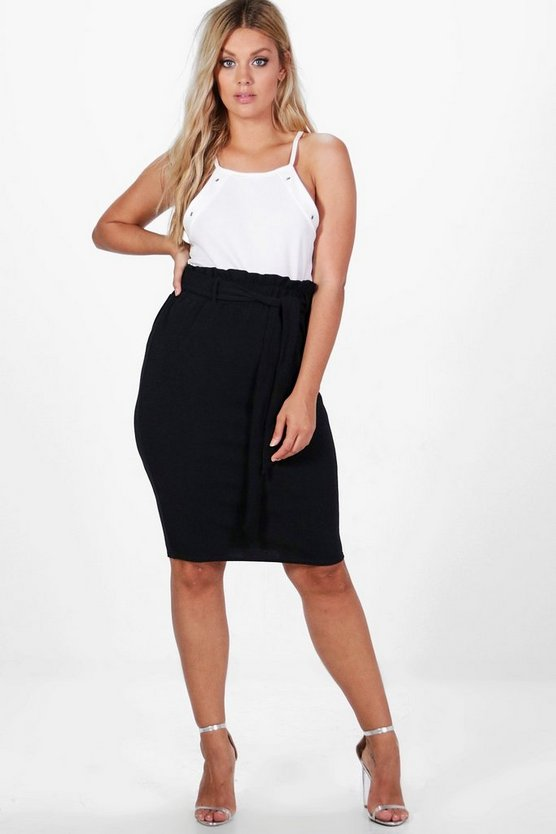 Plus Amelia Paper Bag Wasit Midi Skirt