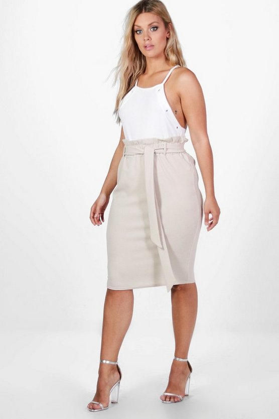 Plus Amelia Paper Bag Waist Midi Skirt