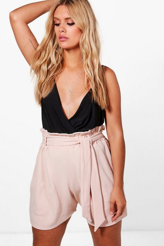 Plus Kelly Paper Bag Waist Tailored Short