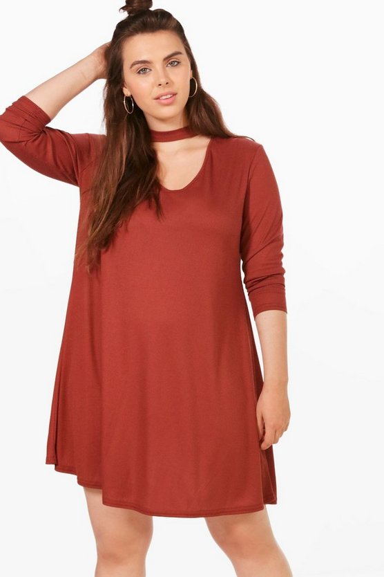 Plus Bridget Ribbed Choker Swing Dress
