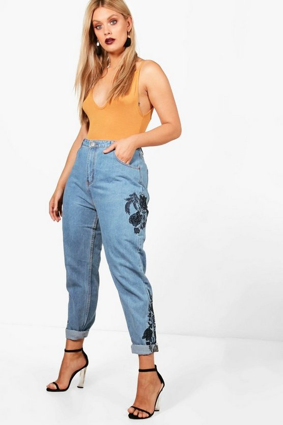 Plus Shelly Embroidered Mom Jean