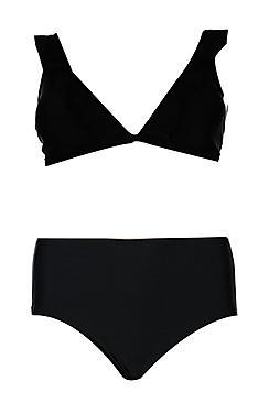 Plus Frill Trim High Waist Bikini