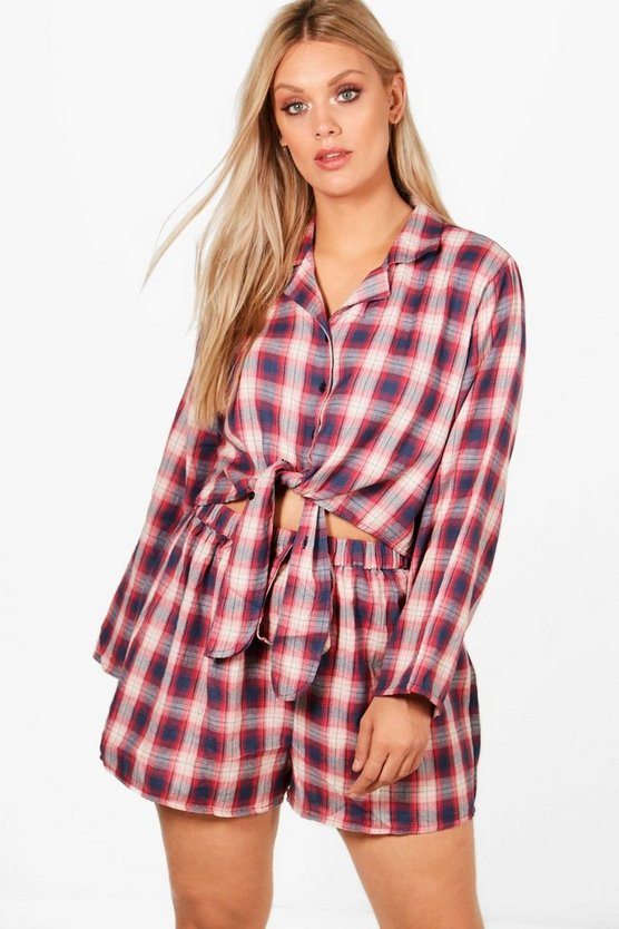 Plus Becca Checked Shirt and Short PJ Set