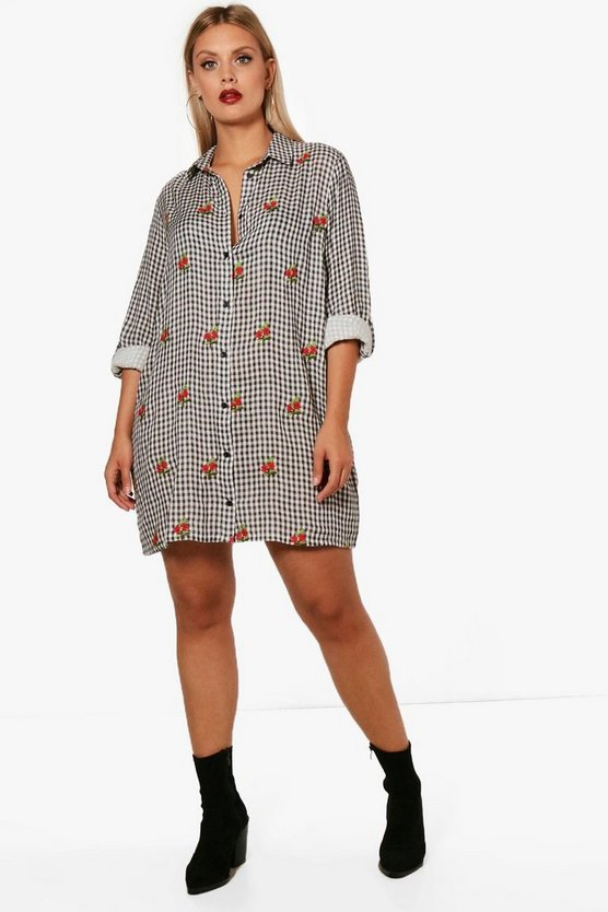 Plus Gingham Embroidered Shirt Dress