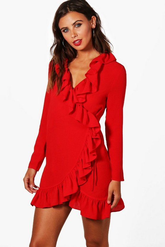 Petite Becca Wrap Front Frill Woven Dress