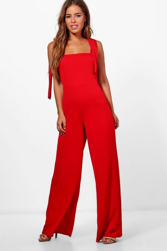 Petite Willow Tie Detail Wide Leg Jumpsuit