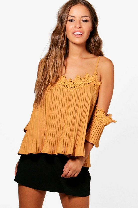 Petite Bella Crochet Pleated Top